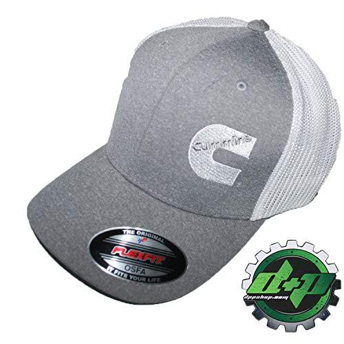 Cummins hat Ball Cap Fitted Flex fit Flexfit Stretch Cummings Dodge Diesel OSFA Gray White mesh