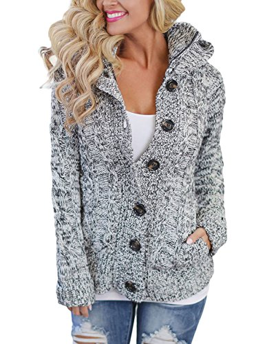 Astylish Women Button Down Long Sleeve Basic Soft Knit hooded Cardigan Sweater grey X-Large