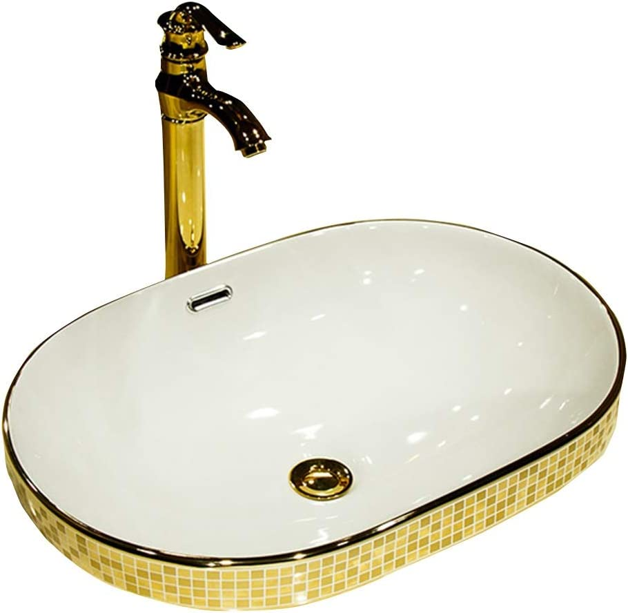 Amazon Com Bathroom Sinks Semi Embedded Ceramic Basin European Creative Gold Oval Sink Home Wash Basin Hot And Cold Water Faucet Color D Size 603919cm Home Kitchen