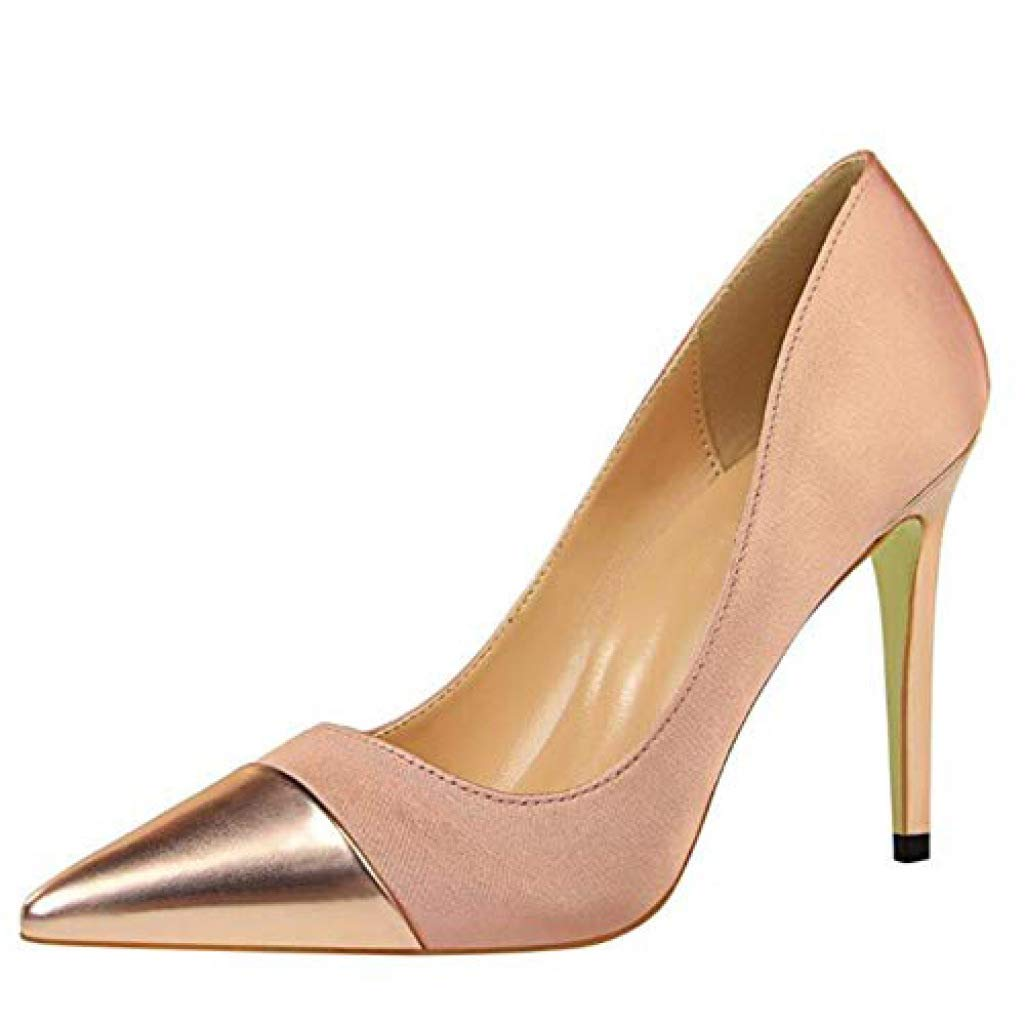 Champagne GanQuan2018 Women Stiletto Thin High Heel Pointed Toe Slip on Sexy Dress Pumps