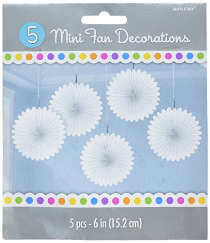 Amscan Mini Frosty White Paper Hanging Fans, 5 Ct. | Party Decoration