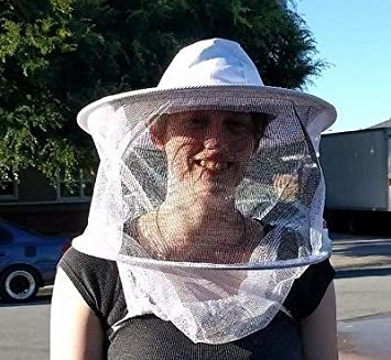 BEE PROOF Brand Beekeeper Veil White hat Round top w// Elastic Under arm Straps