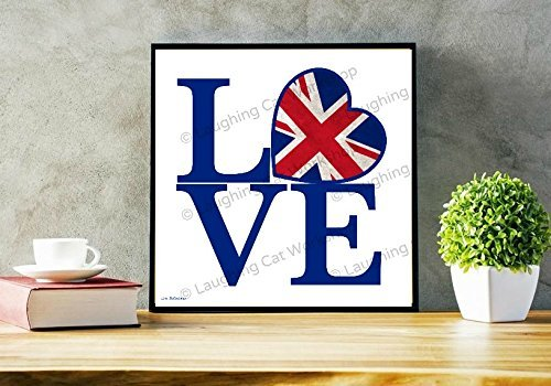 Union Jack Heart print, British print, UK wall art, cute English wall decor, British flag, Love England, Anglophile gift, LOVE wall art, Love UK art, Teen Girls room - Tracking Usps Uk
