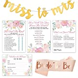 Floral Bridal Shower Games Bundle | Set of 4 Party Games | 50 Sheets Each | with Bonus Bride-to-Be Sash & Miss to Mrs Banner for Wedding Shower Decorations | Including Wedding Advice Cards