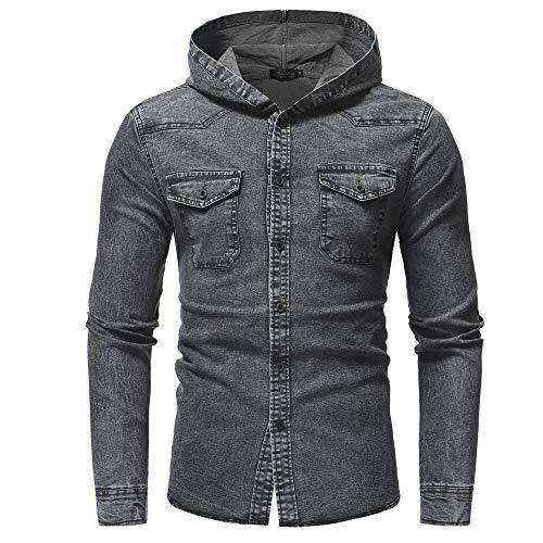 Shirt Vintage Manteau Jean Skinny Jacket Homme overdose Avec Gris En Veste Slim Hiver Denim Capuche Automne Casual Jeans awqPn5z