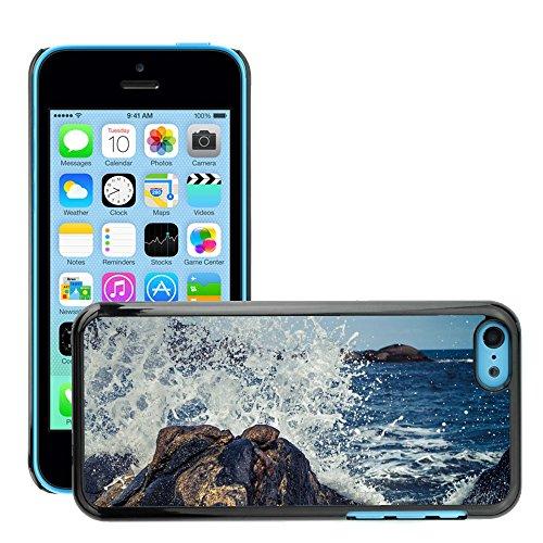 Stampato Modelli Hard plastica Custodie indietro Case Cover pelle protettiva Per // M00421587 Waves Splash Crashing Rock Water // Apple iPhone 5C