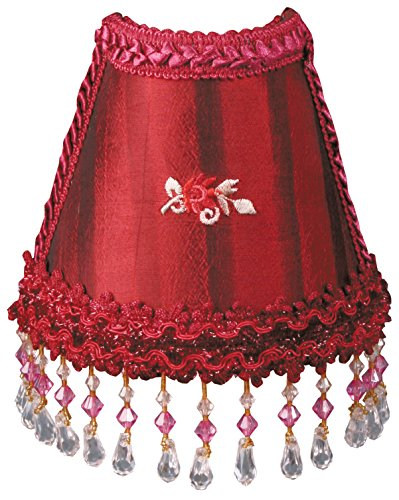Royal Designs NL-109 Beaded 2-Tone Burgundy Stripe Victorian Nightlight Embroided Centered Rosette, Red Striped ()