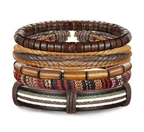 Udalyn 5Pcs Leather Bracelet Set Wooden Beads Bracelets Adjustable Bangle Wristband For Men Women -