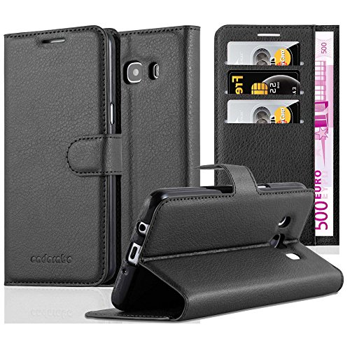 Cadorabo Book Case Works with Samsung Galaxy J5 2016 in Oxid Black – with Magnetic Closure, Stand Function and Card Slot – Wallet Etui Cover Pouch PU Leather Flip