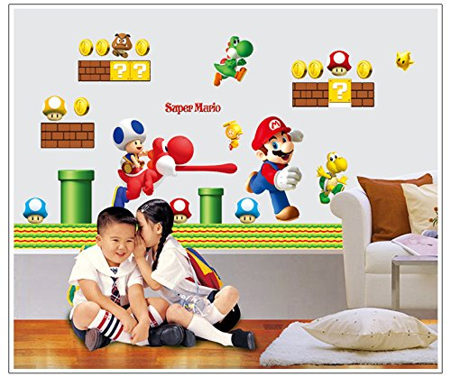 Removable Vinyl Large Wall Sticker for Kids Rooms Stickers Super Mario Cartoon Home Decor Decals Poster House Wall Stickers