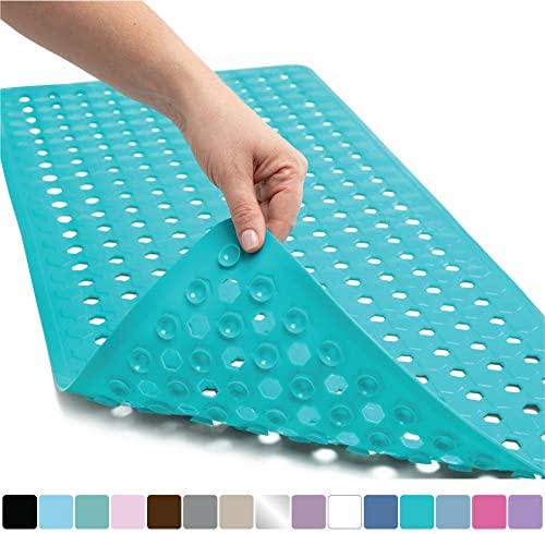 Gorilla Grip Original Patented Bath, Shower, Tub Mat, 35x16, Washable, Antibacterial, BPA, Latex, Phthalate Free, Bathtub Mats with Drain Holes, Suction Cups, XL Size Bathroom Mats, Turquoise Opaque