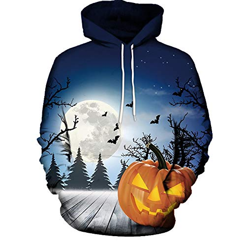 BYSTE_Felpa Sweatshirt, Uomo Felpe con cappuccio Unisex 3D stampato Halloween Coulisse Tasche Felpe per adolescenti Ponticelli Blu