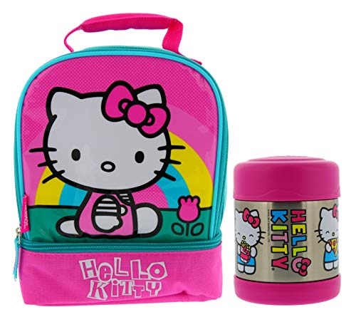 Thermos Hello Kitty Soft Dual Zippered Compartment Reusable Lunch Bag Kit w/Padded Carry Handle & 10oz FUNTAINER Vacuum Insulated Stainless Steel Food Jar - Great for Children & Easy Transport