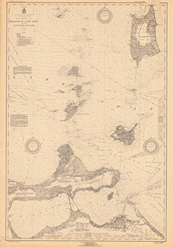 Map - Islands In Lake Erie Including Sandusky Bay, Ohio, 1931 Nautical NOAA Chart - Ohio (OH) - Vintage Wall Art - 32in x 44in (Erie Depth Lake Chart)