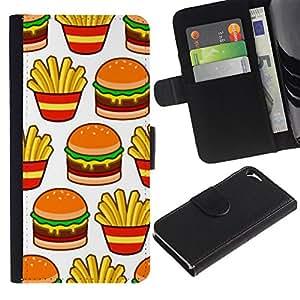 Paccase / Billetera de Cuero Caso del tirón Titular de la tarjeta Carcasa Funda para - hamburger fries French fast food junk - Apple Iphone 5 / 5S
