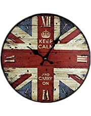 ساعة حائط خشبية بتصميم علم انجلترا على الطراز البريطاني القديم