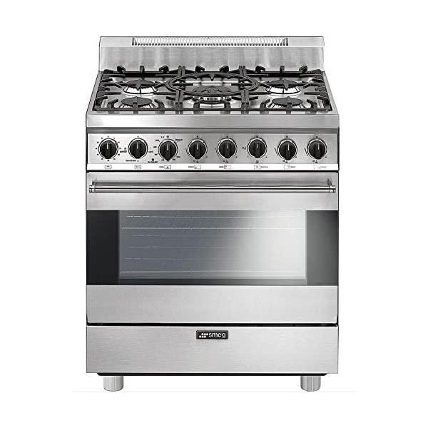 """Smeg C30GGXU1 30"""" Free Standing Gas Range with 5 Gas Burners and 3 Cooking Modes, Stainless Steel 1"""