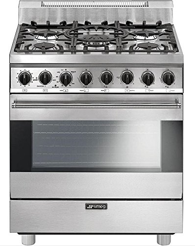 Smeg C30GGXU1 30″ Free Standing Gas Range with 5 Gas Burners and 3 Cooking Modes, Stainless Steel