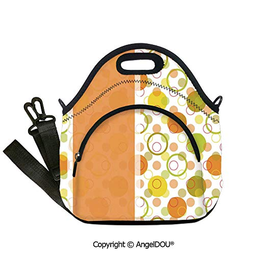 AngelDOU Abstract lightweight Portable Picnic tote lunch Bags Circular Shaped Round Icons Interlace Forms Retro Style Artsy Print Outdoor Travel Picnic Beach Party.12.6x12.6x6.3(inch)