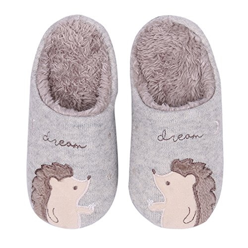 Cute Animal House Slippers Hedgehog Dog Family Indoor Slippers Waterproof Sole Fuzzy Bedroom Slippers for Kids 16G-2XS by Shevalues