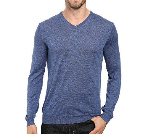 Calvin Klein Mens Merino Solid V-Neck Sweater (XX-Large, Shuttle blue)