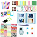 Leebotree Camera Accessories Compatible with Fujifilm Instax Mini 9 or Mini 8 8+ Include Album/Selfie Lens/Filters/Wall Hang Frames/Film Frames/Border Stickers/Corner Stick (Ice Blue without Bag)