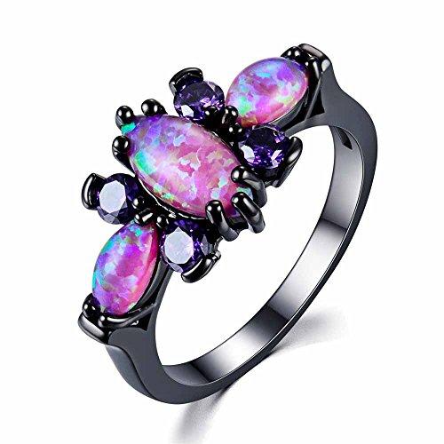 wattana Women Black Gold Butterfly Purple Fire Opal Wedding Ring Jewelry Gift Size 4-12 Wat (7)