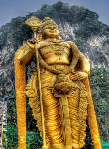 Symbol Rectangle Magnet - Rectangle Refrigerator Magnet - Batu Caves Malaysia God Murugan Statue Symbol