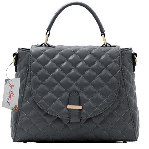Win8Fong - Bolso al hombro para mujer gris