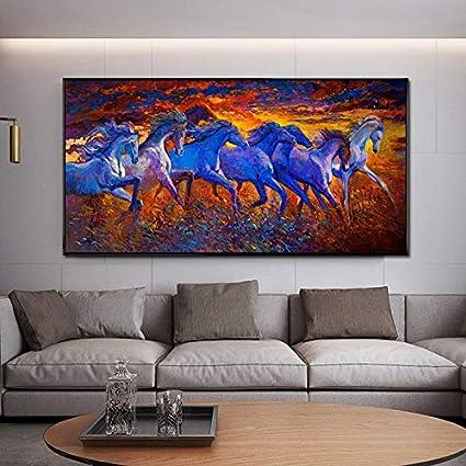 YuanMinglu Pintura sobre Lienzo Carteles e Impresiones de Animales Pintura al óleo Abstracta Carreras de Caballos Cuadros de Pared decoración del hogar Pintura sin Marco 30X60 CM