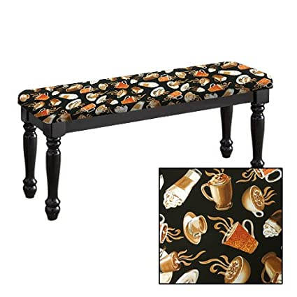 Traditional Farmhouse Style Dining Bench With Black Legs And A Padded Seat  Cushion Featuring Your Favorite