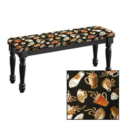 Traditional Farmhouse Style Dining Bench with Black Legs and a Padded Seat Cushion Featuring Your Favorite Novelty Themed Fabric Covered Bench Top (Coffee Cups) (Banquette Seats)