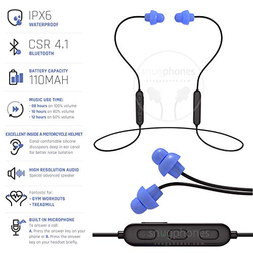 Snug Phones wireless silicon BLUETOOTH ear plug headphones. Noise cancelling IPX6 waterproof heavy duty cord noise isolating ear buds. Motorcycle Workouts and high movement acitivities by Snug Phones