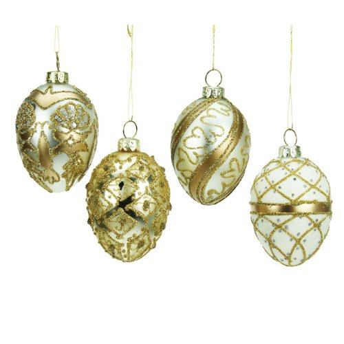 Heaven Sends Set of 4 Gold Glass Egg Christmas Tree Bauble Decorations