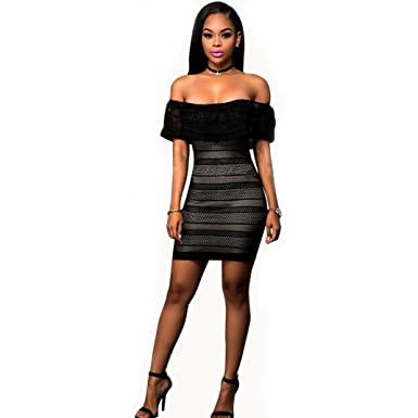 Womens Black Mini Sexy A-Line Off The Shoulder Floral Formal Wedding Lace Long-Short Party Prom Dress Dresses at Amazon Womens Clothing store: