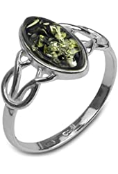 Green Amber Sterling Silver Celtic Thin Ring Sizes 5,6,7,8,9,10,11,12