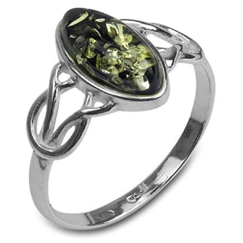 Green Amber Sterling Silver Celtic Thin Ring , Size 10