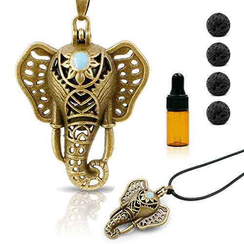 RoyAroma Essential Oil Diffuser Necklace, Elephant Aromatherapy Necklace, Bronze Pendant Locket, Waxed Rope (Bronze Copper Pendant)