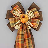 Pumpkin Fall Plaid Rustic Wreath Bow - 9'' wide