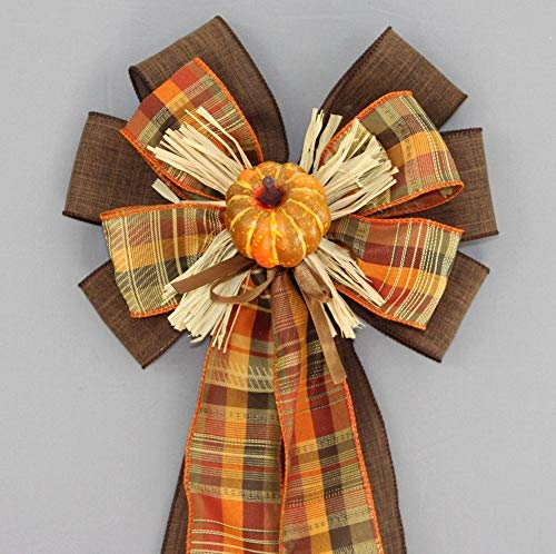 Pumpkin Fall Plaid Rustic Wreath Bow - 9'' wide by Package Perfect Bows