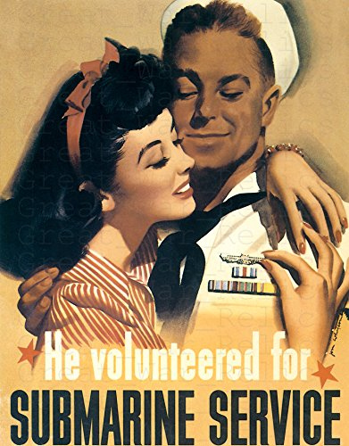 UpCrafts Studio Design AmericanWW2PropagandaPoster, Size 11.7x16.5 inches - HE VOLUNTEERED for Submarine Service- WWII U-Boat Recruiting Recruitment Prints Reproduction