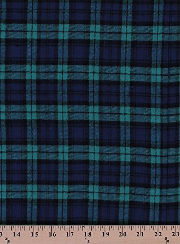 Shirting Flannel Black Watch Navy Green Plaid Flannel Fabric By the Yard ()