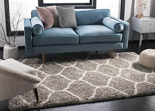 Safavieh Hudson Shag Collection SGH280B Moroccan Ogee Plush Area Rug 4#039 x 6#039 Grey/Ivory