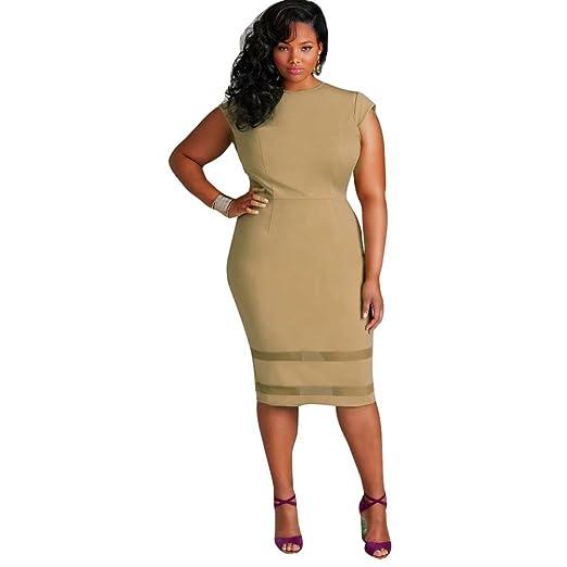 Amazon.com: Franterd Dress Women Plus Size Dress Solid Sleeveless ...