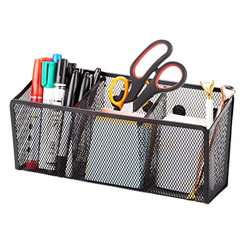 Magnetic Pencil Holder Organizer - Perfect for Locker Refrigerator Whiteboard Office Fridge - Metal Mesh Pen Cup for Accessories Marker Eraser Chalk Supplies - Strong Magnet Storage Bin Basket (Erase Brushed Metal Dry)