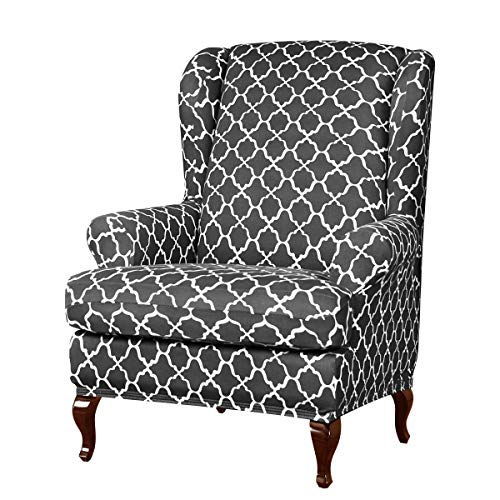 Subrtex 2pcs Wingback Chair Slipcovers Wing Chair Armchair Covers Detachable Spandex Printed Sofa Covers Furniture Protector(Gray)