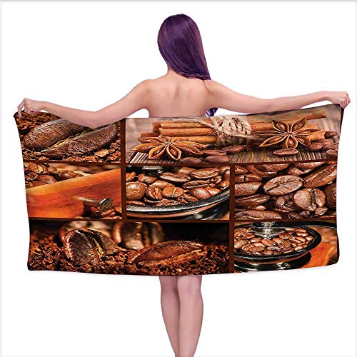 Coffee Dynasty Grinder - Denruny Bath Towel Set Brown,Antique Grinder Coffee Beans,W28 xL55 for Youth Girls Cotton