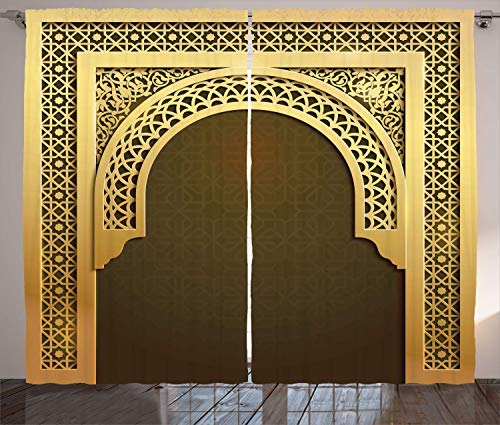 - Ambesonne Moroccan Curtains, Middle Eastern Culture Greeting Scroll Arch Figure Celebration Ancient Theme, Living Room Bedroom Window Drapes 2 Panel Set, 108 W X 90 L Inches, Yellow and Brown