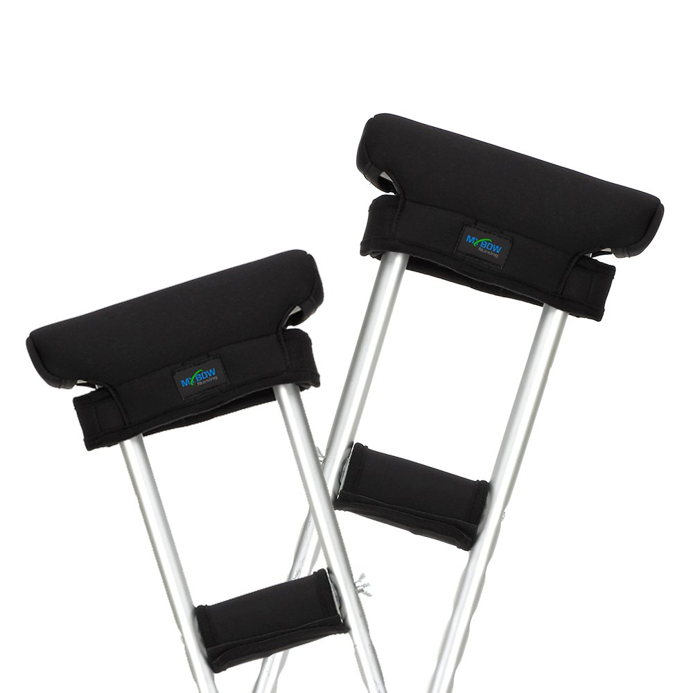 Crutch Pads Covers Underarm & Handle Crutches Padding Cushions Pillow for Armpit & Hand Grip Comfortable Mobility Accessories (Black, 2 Set)