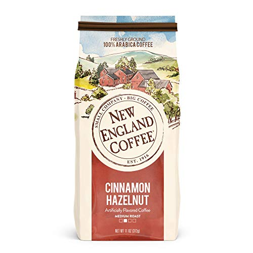 New England Coffee Cinnamon Hazelnut, Medium Roast Ground Coffee, 11 Ounce Bag (Best Flavored Tea Brands)
